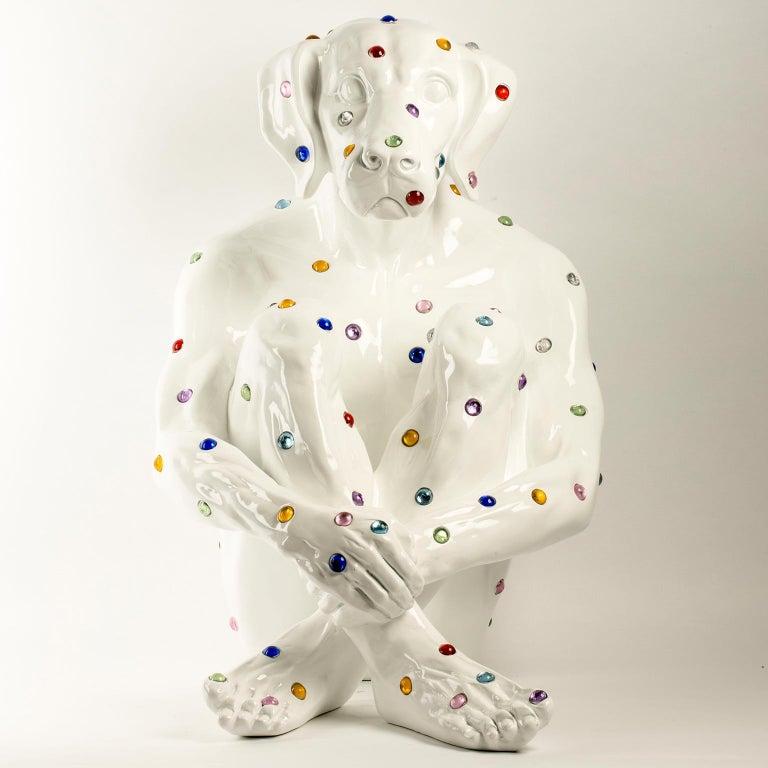 Pop Art - Sculpture - Art - Fibreglass - Gillie and Marc - Dogman - Nude - White For Sale 1