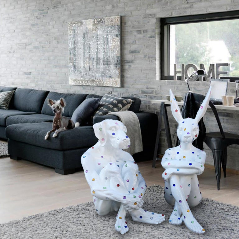 Pop Art - Sculpture - Art - Fibreglass - Gillie and Marc - Dogman - Nude - White For Sale 2