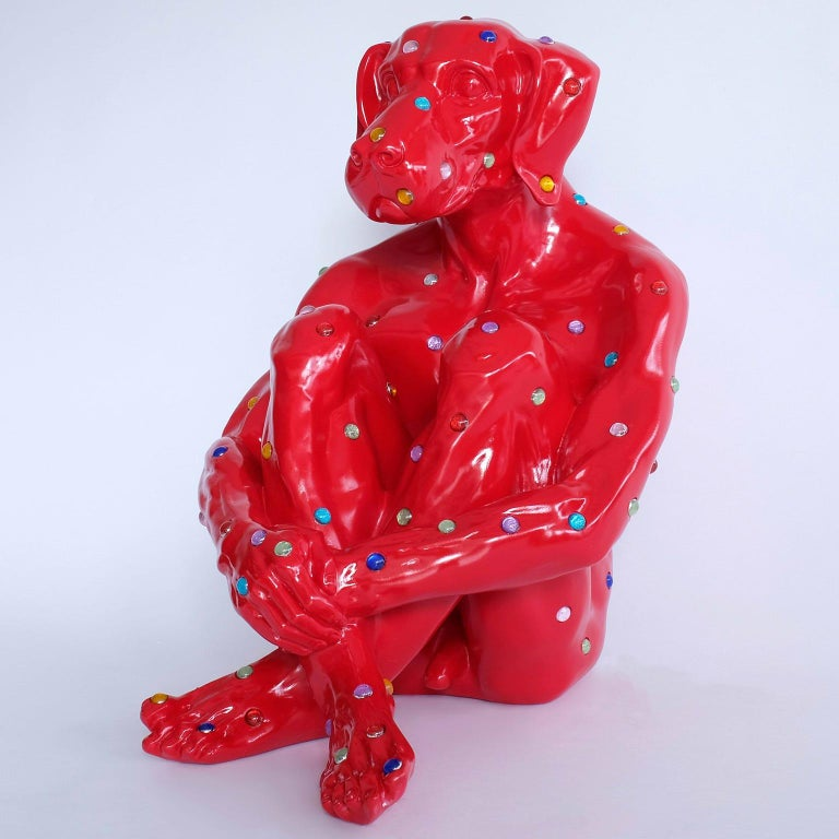 Title: Diamond Dog (Red) Fibreglass Sculpture - Dogman - Gillie and Marc - Limited Edition Gillie and Marc are known across the globe for their iconic Lost Dogs, which can be found in famous art collections, leading hotel chains, and the homes of
