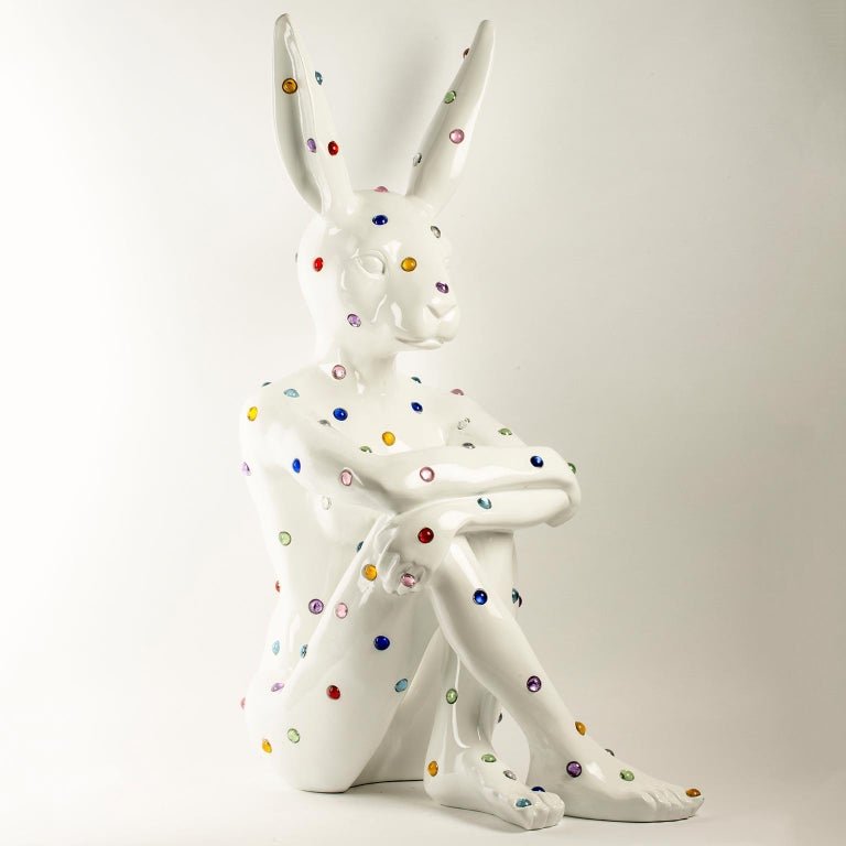 Title: Ruby Rabbit (White) Authentic fibreglass sculpture Limited Edition  World Famous Contemporary Artists: Husband and wife team, Gillie and Marc, are New York and Sydney-based contemporary artists who collaborate to create artworks as one.