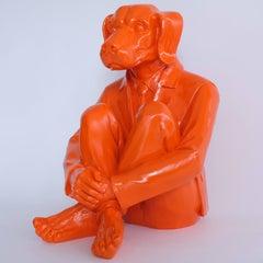 Pop Art - Sculpture - Art - Fibreglass - Gillie and Marc - Dogman - Orange -2019