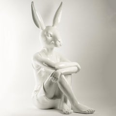 Pop Art - Sculpture - Art - Fibreglass - Gillie and Marc - Rabbitwoman - White