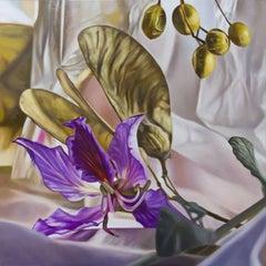 Autumn urban nature, Painting, Oil on Wood Panel
