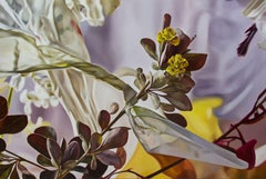 Berberis with plastic, Painting, Oil on Wood Panel