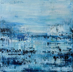 Blue abstract painting FT299, Painting, Acrylic on Canvas