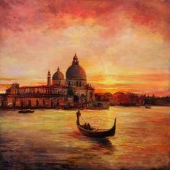 Romantic Venice, Painting, Oil on Wood Panel
