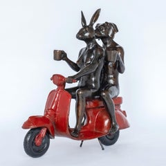 Bronze Sculpture - Gillie and Marc - Limited Edition - Vespa Art - Vibrant Red