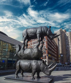 Photography Print - Pop Art - Rhino Sculpture - The last three, NYC