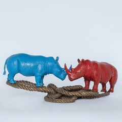 Bronze Sculpture - Art - Rhino - Homewares - red - blue - Animals