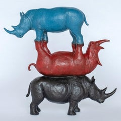 Bronze Sculpture - Art - Rhino - Limited Edition - Animals - Colourful