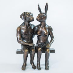 Bronze Sculpture - Limited Edition - Animal Art - Love - Together on bench