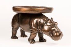 Bronze Indoor Outdoor Sculpture - Limited Edition - Hippo Art Table