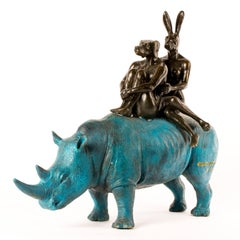 Bronze Sculpture - Limited Edition - Blue Patina Rhino Riders - 2019