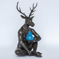 Bronze Sculpture - Limited Edition Art - Deer with Blue Patina Pear