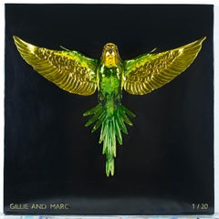 Bronze Brass Sculpture - Limited Edition - Green Gold Budgie - Bird Art