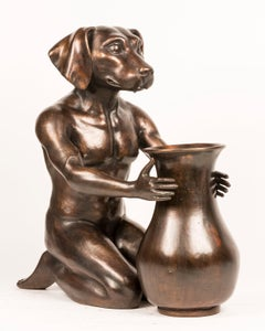 Bronze Indoor Outdoor Sculpture - Limited Edition - Art Vase - Flower Dog