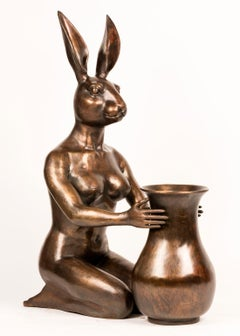 Bronze Indoor Outdoor Sculpture - Limited Edition - Art Vase -  Flower Rabbit