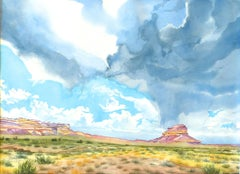 Fajada Butte at Chaco Canyon New Mexico Painting, Watercolor on Watercolor Paper
