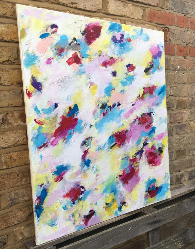 An abstract floral painting inspired by the budding blossoms in my garden. Forsythia and magnolia trees are competing for attention. The painting reflects the mood that comes with the first sunny days in spring time. It was built over many colour