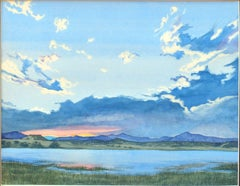 Sunset at Storrie Lake, Painting, Watercolor on Watercolor Paper