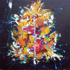 Orange Blossom Extravaganza at Night, Painting, Acrylic on Canvas