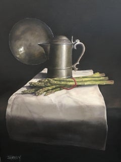 Pewter and Asparagus, Painting, Oil on Canvas