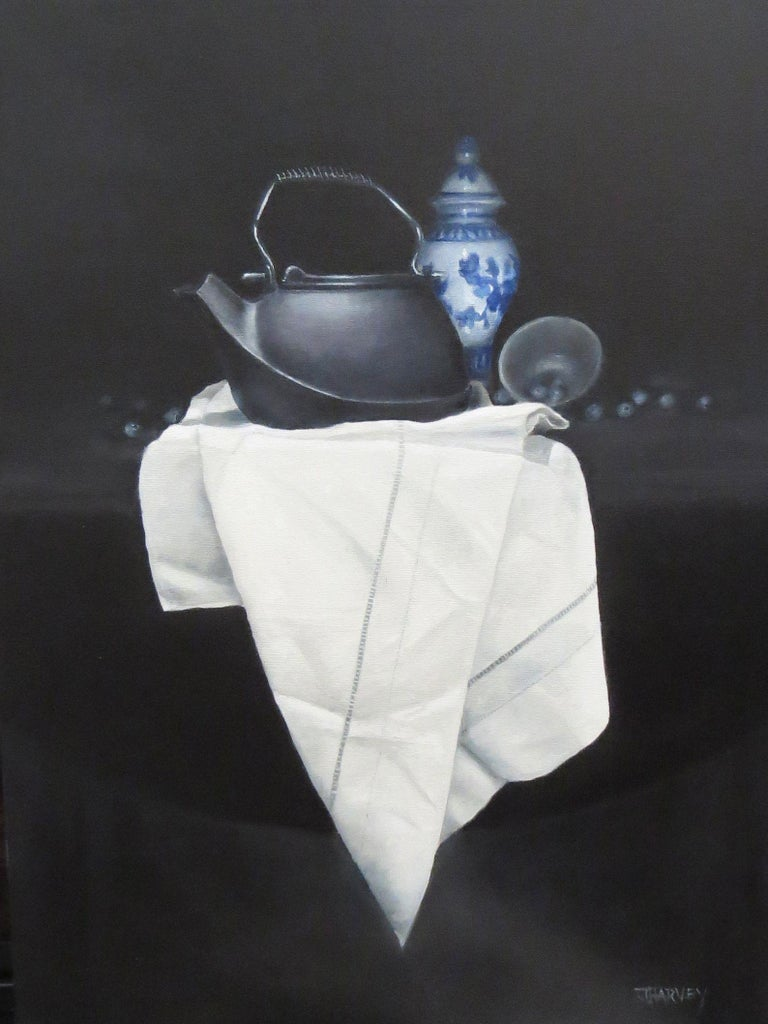 The size and orientation of the painting is closer to what might be used for a portrait with the kettle as the focus and the Chinese jar and blueberries as adornments. The chiaroscuro background lends a sense of drama and intrigue.  Only high
