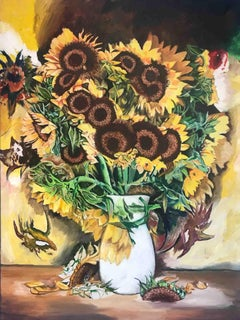 SUNFLOWERS, Painting, Oil on Canvas