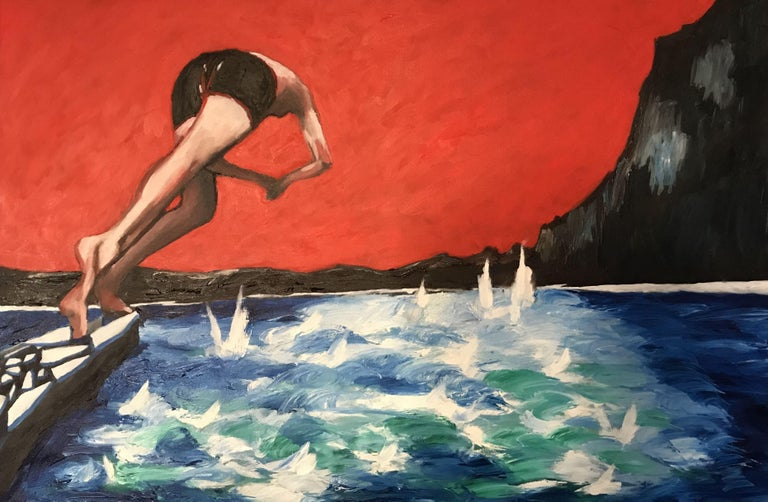 Summer is the month for this image. I tried to capture a timeless moment. Always in scared of the water and drawn to it at the same time and conquering my fears. How I love the sea. :: Painting :: Realism :: This piece comes with an official