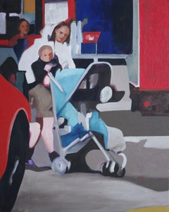 Pram and Trucks, Painting, Oil on Canvas