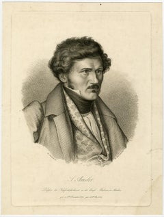 Portrait of Samuel Amsler in Munich by Merz - Engraving - 19th Century