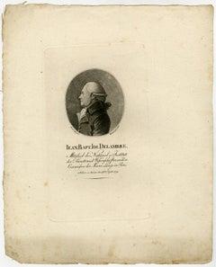 Portrait Jean Baptiste Delambre by Westermayr - Stipple engraving - 19th Century