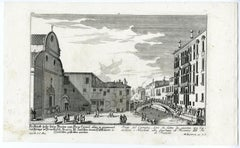 A view of Ponte del Carmini in Venice by Engelbrecht - Engraving - 18th Century