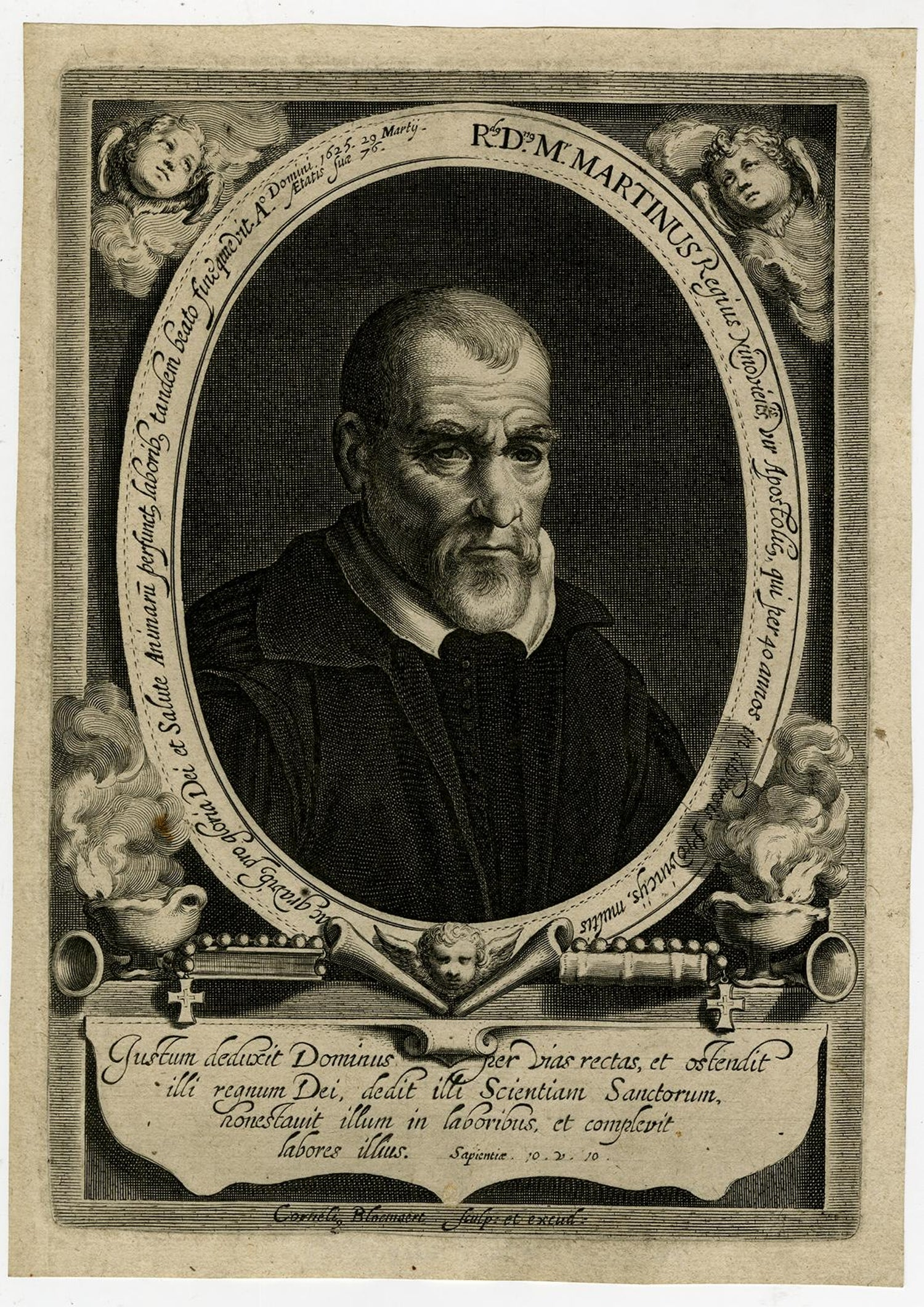 Portrait of the priest Marten Conincx by Bloemaert - Engraving - 17th  Century