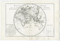 Map of the Eastern Hemisphere by Bonne - Engraving - 18th Century