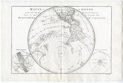 Map of the Southwestern Hemisphere by Bonne - Engraving - 18th Century