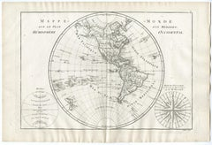 Map of the Western Hemisphere by Bonne - Engraving - 18th Century