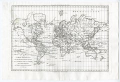 World map on Mercator's projection by Bonne - Engraving - 18th Century