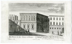 A view of Palazzo Strozzi in Florence by Engelbrecht - Engraving - 18th Century