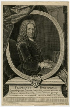 Portrait of the physician Friedrich Hoffmann by Petit - Engraving - 18th Century