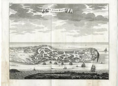 Forts and churches of Macao or Macau by Valentijn - Engraving - 18th Century