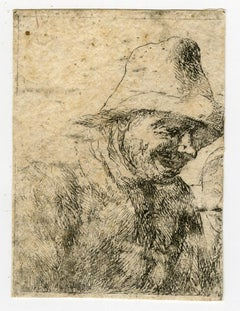 A laughing peasant, a sketch by Wyck - Etching - 17th Century