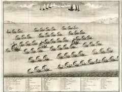 The Hongi or Coracora fleet from Ambon by Valentijn - Engraving - 18th Century