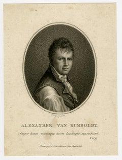 Portrait of Alexander von Humboldt by Velijn - Stipple engraving - 19th Century