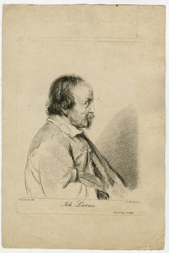 Portrait of Jan Lievens by Bartsch - Etching - 19th Century