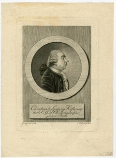 Portrait of Christoph Ludwig Hoffmann by Bock - Engraving - 19th Century