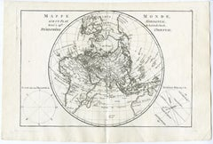 Map of the Northeastern Hemisphere by Bonne - Engraving - 18th Century
