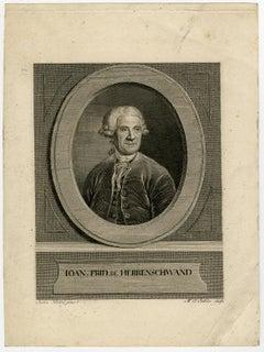 Portrait of Johann Friedrich Herrenschwand by Eichler - Engraving - 18th Century