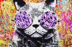 HIPPIE CAT, Painting, Acrylic on Canvas