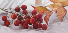 Nandina with plastic, Painting, Oil on Wood Panel